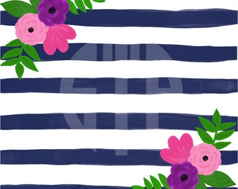 Navy Stripes and Florals (Instant Download)
