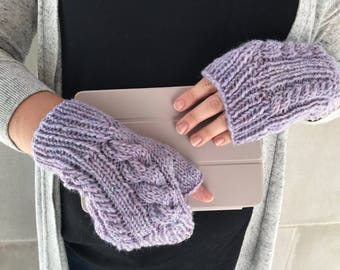Womens Gloves, Texting Gloves, Fingerless Gloves, Womens Knitted Gloves, Cable Knit Wool Gloves, Light Purple Gloves || DOUBLE CABLE GLOVES