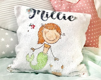 Mermaid pillow, personalised pillow, baptism gift,personalised sequin pillow,  unicorn gift, flower girl gift , 1st birthday gift.
