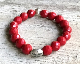 Red  Minimalist  Beaded  Stretch Bracelet  with Silver  Butterfly For Her Under 60, Mom Girlfriend Gift,  Free Gift Wrap