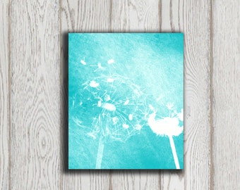 Dandelion wall art Dandelion decor Turquoise Home decor Turquoise Wall art Digital Modern flower Abstract Flower poster art INSTANT DOWNLOAD