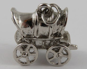 Covered Wagon Mechanical Sterling Silver Vintage Charm For Bracelet