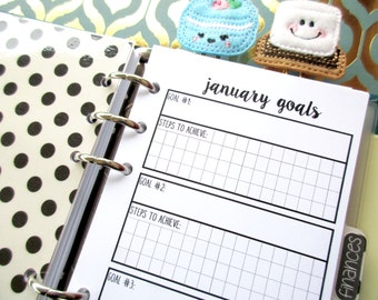 Personal Size Monthly Goals - Printed Inserts