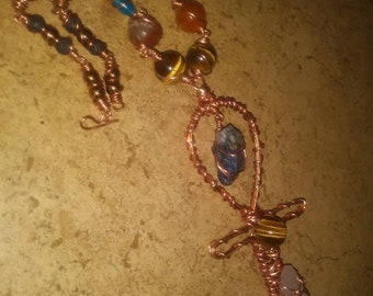 7 inch long Power Ankh  Gemstone Copper  Necklace