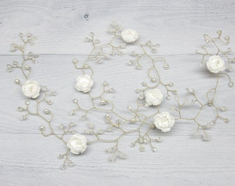 Vine hair bridal Flower headpiece Crystal vine hair Long bridal vine Wedding hairpiece Extra Long Hair Vine White hair bridal
