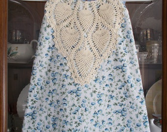 Girl's Blue Size 3/4 Wrap Dress, Upcycled Girl's Dress, Doily Wrap Dress Girl's Size 3/4
