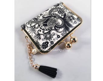 Black & White Paisley Print Faux Leather Credit Card Holder / Mini Wallet S009