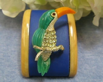 Vintage Toucan Rhinestone Brooch Pin Plastic