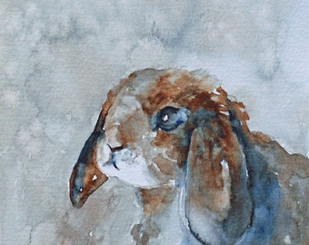 watercolor painting of rabbit painting rabbit print rabbit art print rabbit painting bunny print folk art ATC SMALL Artist Trading Card