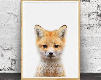 Fox Cub Print, Woodland Nursery, Woodland Nursery Decor, Woodland Animals, Woodlands Print, Fox Cub, Large Poster, Baby Animal Prints