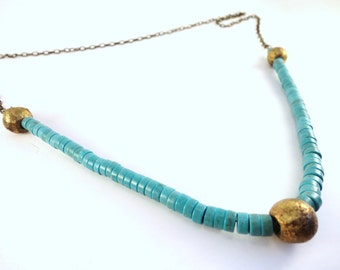 Teal Statement Necklace. Brass Boho Necklace, Layering Necklace, Blue Necklace, Long Necklace, Summer Necklace, Heishi, African Necklace