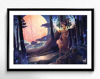 "Night, original creation, art print (12 X 18 ""/ 6 X 9"")"