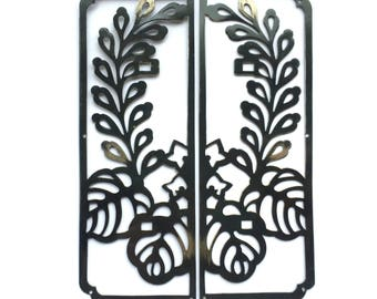 Japanese Metal Plate -  Furniture Plates -  Flower and Leaf Set of 2 (MP19)
