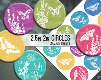Watercolor Nature Butterflies 2.5in and 2 Inch Circle Digital Collage Sheet Download Printable Images for Gift Tags Cards Scrapbooking JPG