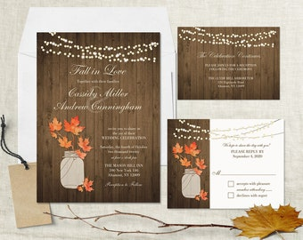 Rustic Fall Wedding Invitation Set Fall Leaves Mason Jar Wedding Invitation Suite RSVP Card Barn Wood Country Wedding DIY digital printable
