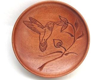 Round Hummingbird Dish made from reclaimed Mahogany