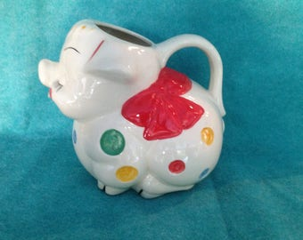 American Bisque Pottery Pitcher Water Pig Polka Dot Bow Tie
