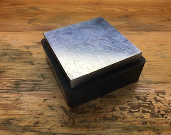"Steel Bench Block with Rubber Base 2-1/2 x 2-1/2"" (AN520)"