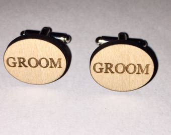 Mens/Boys Wooden Wedding Party Cufflinks, Groom, Best Man etc