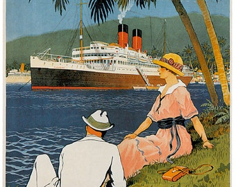Vintage French Lines shipping company poster Central America Antilles Caribbean reproduction print