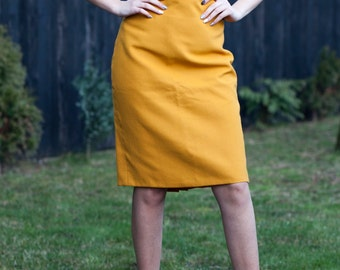 Pencil Skirt 3/4, yelow, handmade, size M, Straight, Suiting, easy to wear