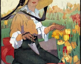 Among The DAFFODILS!  Vintage Flower/Garden Illustration. Digital Flower Download. Vintage Digital Flower Printable Image.