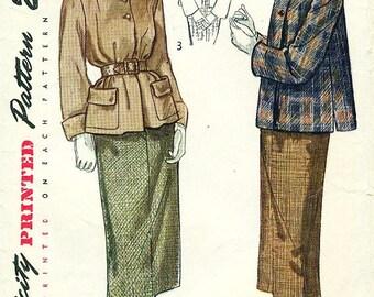 Simplicity 2939 Jacket Skirt 1940s Suit Wonderfully Styled c. 1949 Size 11