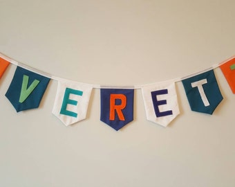 Personalised Fabric Bunting,  Name Banner, Fabric Nursery Letters, Nursery Wall Hanging, Letter Name Sign, Orange and Teal, Custom Garland.