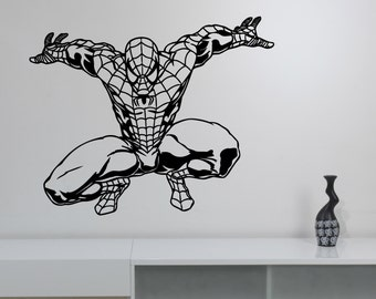 Spiderman Wall Sticker Vinyl Decal Marvel Comics Art Superhero Decorations for Home Teen Kids Boys Room Bedroom Playroom Decor spm3