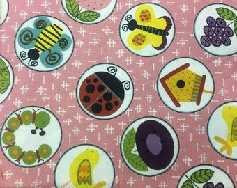 "Back yard in circles by Kim Schaefer for Andover Fabrics , 43-44"" wide, 100% cotton, by the half yard, novelty fabric, insect fabric"