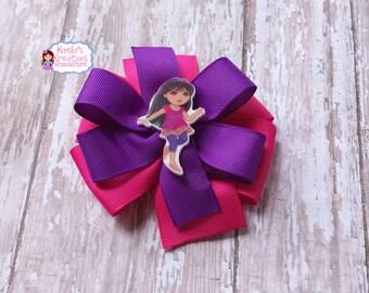 Dora Hair Bows, New Dora Hair Bows,Pink and Purple Dora Hair Bows,Purple and Pink Dora Hair Bows,Pinwheel Hair Bows,Dora the Explorer Bows.