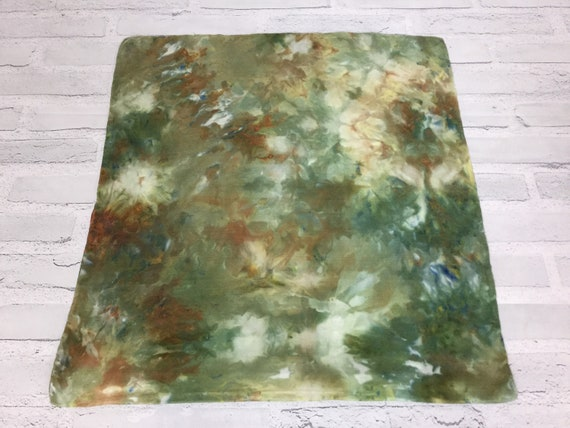 "18"" Silk Throw Pillow Cover Ice Dyed Tie Dye Handmade Artist Zipper Covers Bed Sofa Olive Green Brown Earth Tones #226"