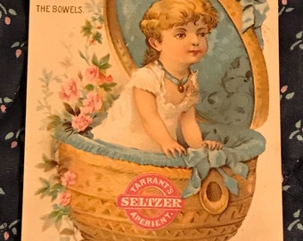 Victorian Trade Card 1800s, Little Girl In Basket With Pink Flowers, Tarrants Seltzer Aperient, Wonderful Antique Paper Collectible