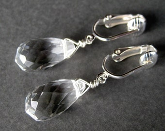 Clear Teardrop Clip On Earrings, Silver Ear Clips, Faceted Glass Teardrops, Handmade, Ice Drops