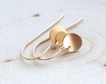 Tiny Dainty Gold Fill Earrings - Little Golden Circle Disc Charms - Minimal Everyday Simple Earrings 14k Gold FIlled