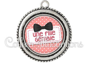 Pendant cabochons 25mm a great girl - 9 series