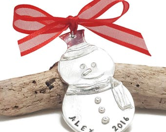 Snowman Christmas Ornament - Personalized Christmas Snowman Ornament - Custom ornament - Name and Family Christmas ornament