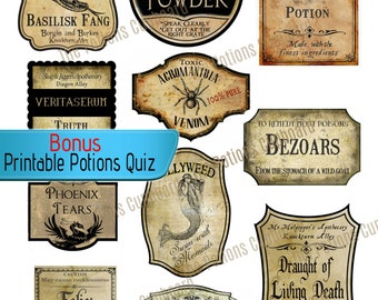 Realistic Handmade Labels, Inspired by Harry Potter Wizard Party Decoration, Apothecary Jar, Game Printabe, Potion Bottle Labels