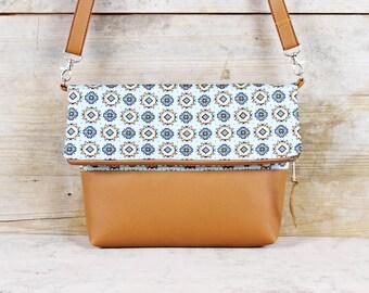 "Foldover bag Retro pattern ""Malia"""