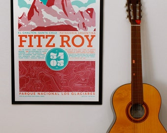 Fitz Roy hand printed silkscreen poster - El Chaltén - Patagonia Argentina