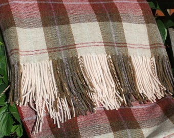 Langley Plaid Fringed pure wool Throw