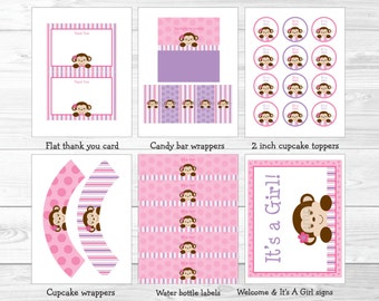 Monkey Baby Shower Party Package / Monkey Baby Shower Decorations / Monkey Baby Shower / Pink & Purple / INSTANT DOWNLOAD A413