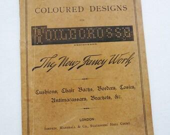 Toilecrosse, coloured designs, wonderful vintage antique cross stitch book, charted Victorian needlework patterns, 1800s