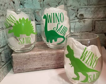 Witty Wine Glasses | Wino Saurs | Wine Glass Gifts | On Sale Now | Wine Glass Humor | Wine & Laugh | Wine Set