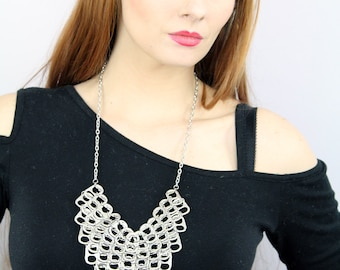 Arrow Chainmail Pop Tab Necklace Triangle Bib Style  Silver ChainMaille  Upcycled Eco Friendly Jewelry Bridesmaid Gift Idea  Adjustable