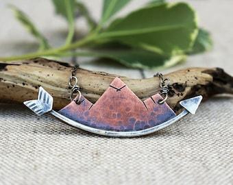 Mountain Necklace, Mountainscape, Arrow, Arrow Necklace, Copper, Silver
