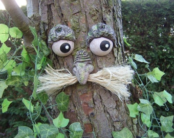 Garden ornaments, sculptures, statues, mothers day, gifts for gardeners tree faces, funny faces moustaches face sculptures handmade yard art