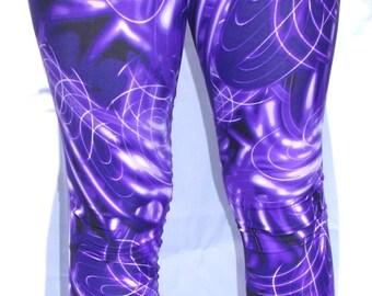 Youth Purple Electric Leggings, Girls Leggings, Printed Leggings, Yoga Pants, Running Pants, Purple Leggings