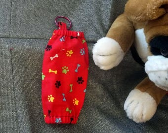 Détenteurs de petit sac pour animaux de compagnie, OS de pattes des ouvertures élastique rouges