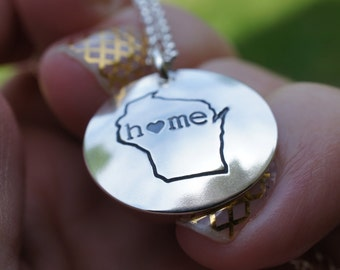Wisconsin State Necklace - Home Is Where Your Heart Is Collection - Custom Home State Necklace by Eclectic Wendy Designs